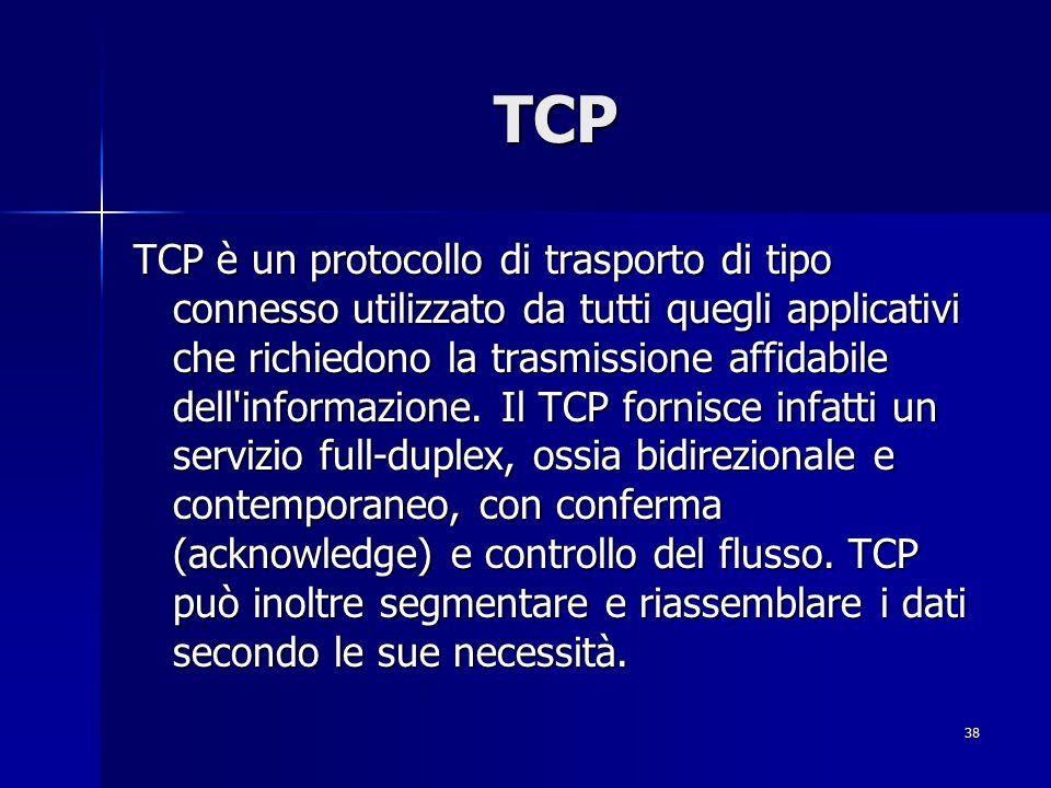 39 TCP Questo protocollo è di tipo sliding window con meccanismi di time-out per evitare gravi congestioni della rete e pertanto TCP è caratterizzato da un numero massimo (espresso in byte) di dati in attesa di acknowledgement.