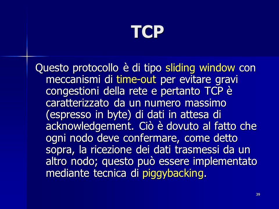40 TCP: Sliding Window I protocolli a sliding window richiedono di fissare la dimensione della finestra.