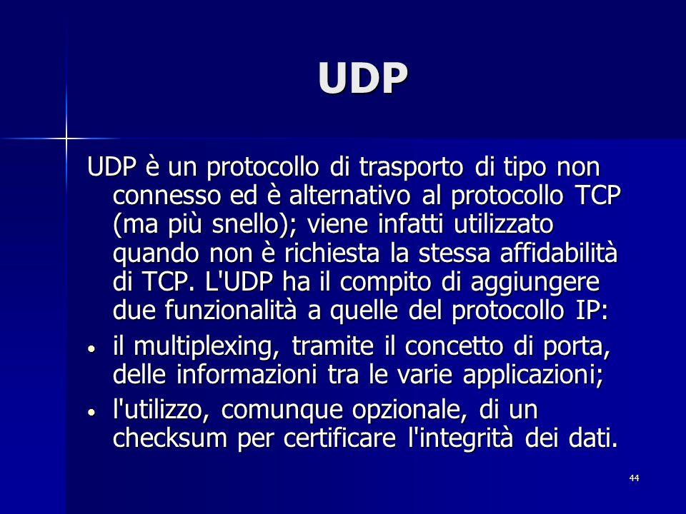 45 UDP L applicabilità di questo pacchetto è riferibile a reti locali; esso inserisce tutti i dati in un singolo pacchetto e, una volta trasmesso, non ne garantisce l arrivo a destinazione.
