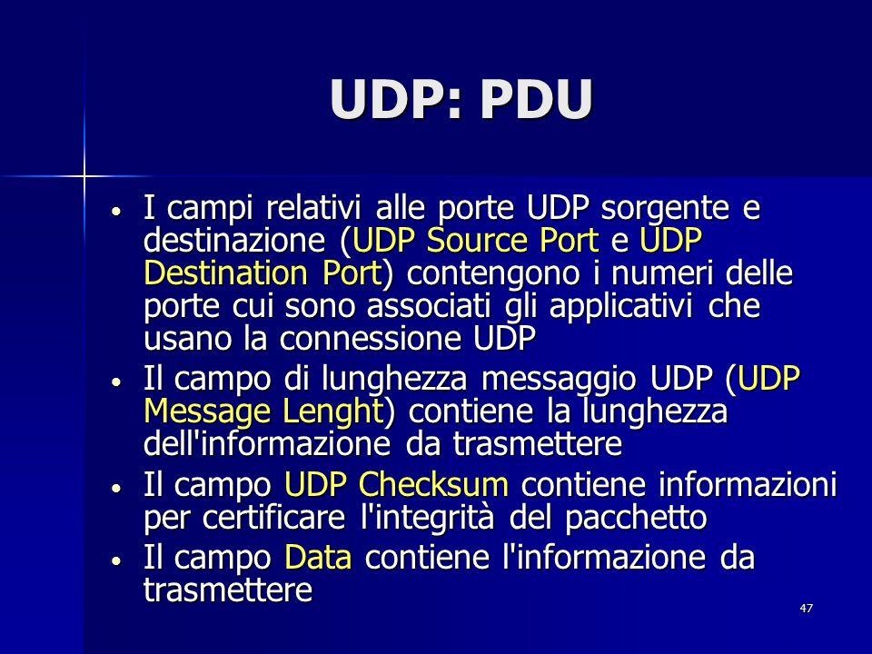 48 UDP Le principali applicazioni di UDP sono il Network file System (NFS consente a più elaboratori di condividere un file system) ed il Simple Network Management Protocol (SNMP è un protocollo per la gestione di apparati).