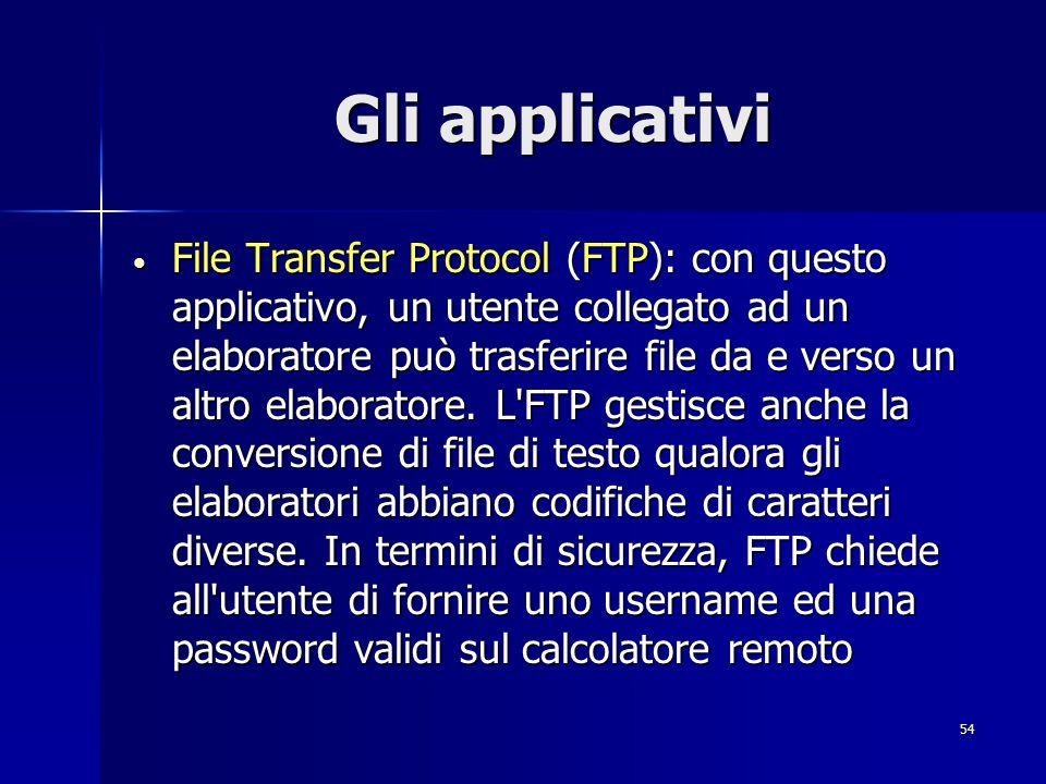 55 Gli applicativi Simple Mail Transfer Protocol (SMTP): questo applicativo consente di inviare posta elettronica ad utenti remoti.