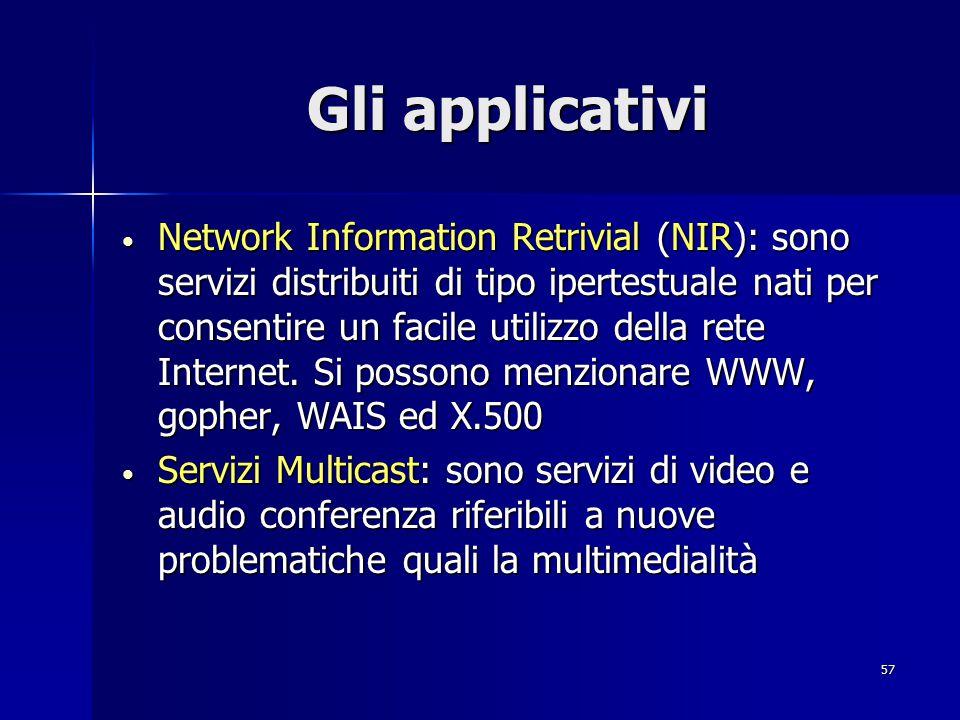57 Gli applicativi Network Information Retrivial (NIR): sono servizi distribuiti di tipo ipertestuale nati per consentire un facile utilizzo della ret