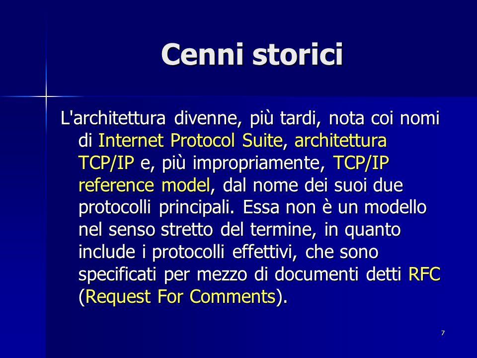 8 Architettura di rete TCP/IP OSI Application Presentation Session Transport Network Data Link Physical Non Specificati IP TCP e UDP RPC XDR NFS Internet Protocol Suite Arp e Rarp ICMP Protocolli di routing Telnet FTP SMTP SNMP