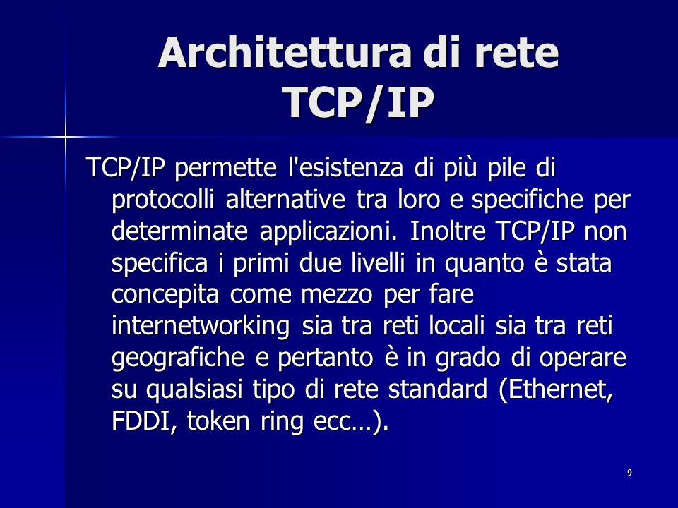 10 IP IP (Internet Protocol) rappresenta il livello Network di TCP/IP; è un protocollo di tipo datagram (ossia i pacchetti non sono numerati e vi è l assenza del controllo degli errori e del flusso delle informazioni) ed offre un servizio non connesso.