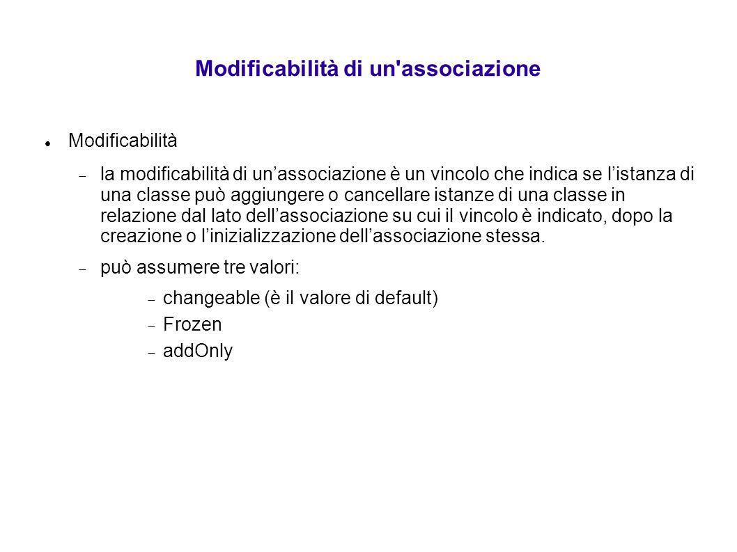 Modificabilità di un'associazione Modificabilità  la modificabilità di un'associazione è un vincolo che indica se l'istanza di una classe può aggiung