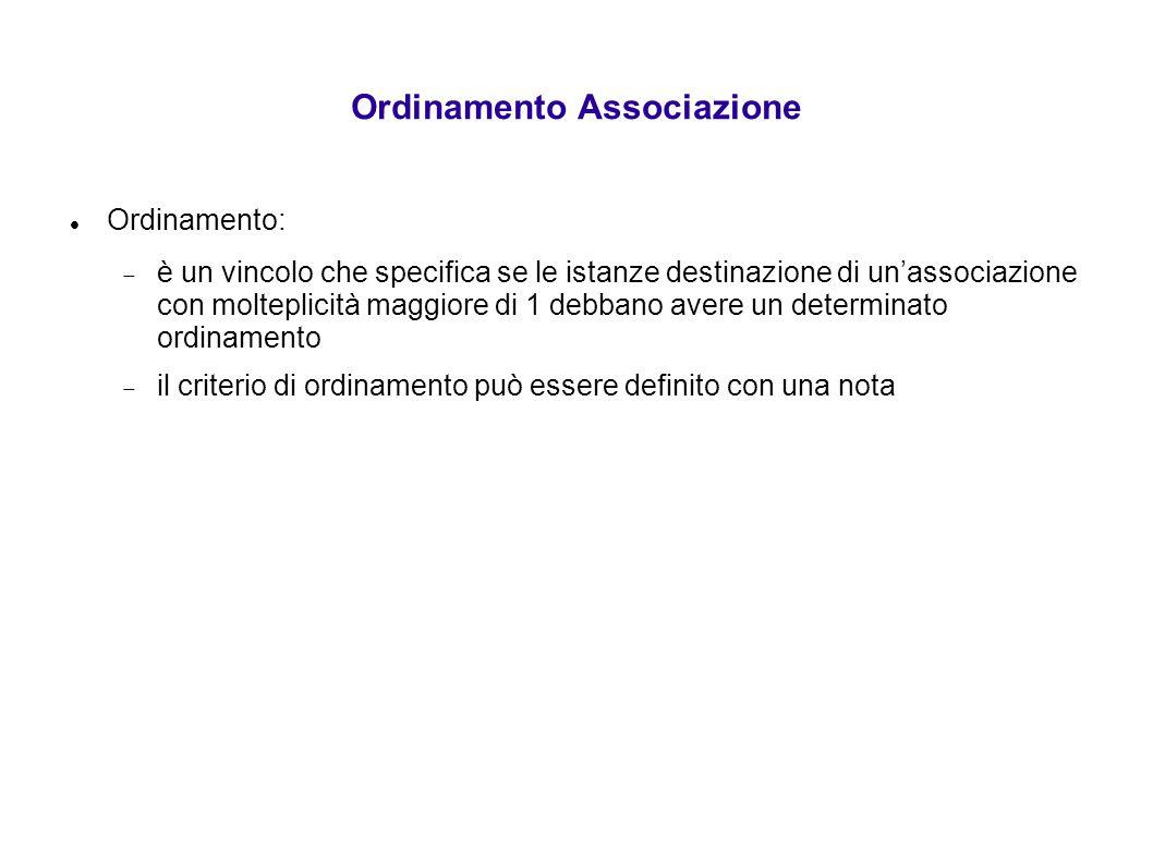 Ordinamento Associazione Ordinamento:  è un vincolo che specifica se le istanze destinazione di un'associazione con molteplicità maggiore di 1 debban