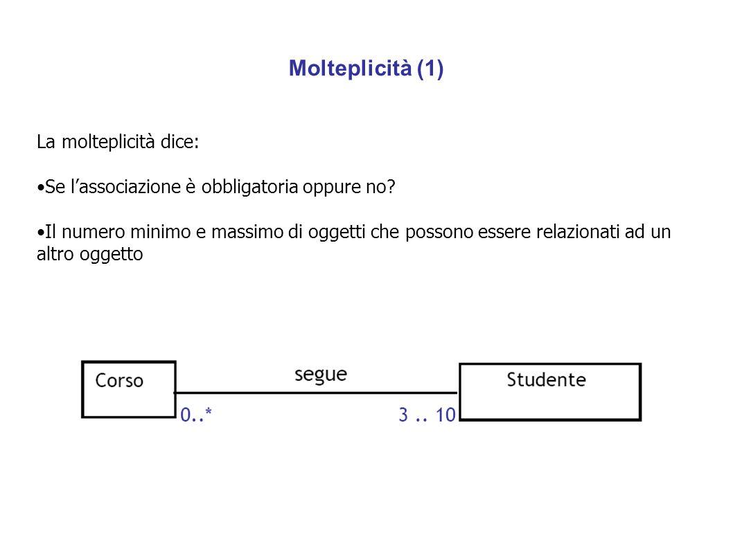 Molteplicità (1) La molteplicità dice: Se l'associazione è obbligatoria oppure no? Il numero minimo e massimo di oggetti che possono essere relaziona