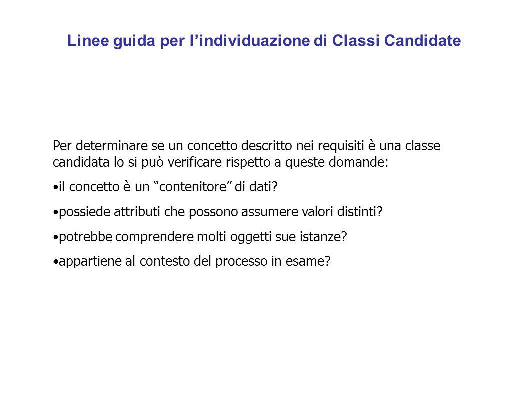 Linee guida per l'individuazione di Classi Candidate Per determinare se un concetto descritto nei requisiti è una classe candidata lo si può verificar