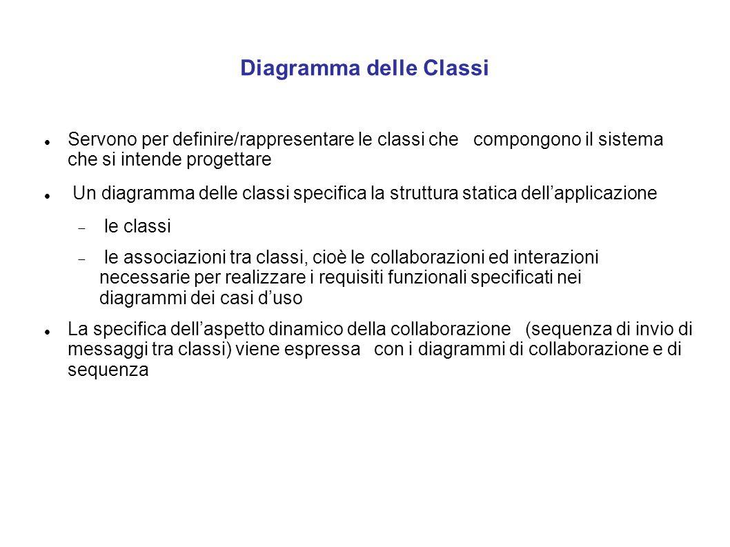 Diagramma delle Classi Servono per definire/rappresentare le classi che compongono il sistema che si intende progettare Un diagramma delle classi spec