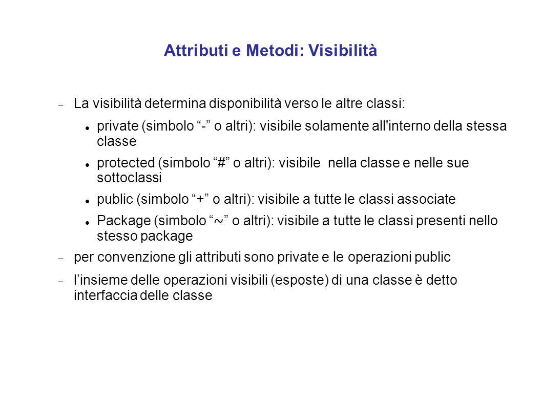 """Attributi e Metodi: Visibilità  La visibilità determina disponibilità verso le altre classi: private (simbolo """"-"""" o altri): visibile solamente all'in"""