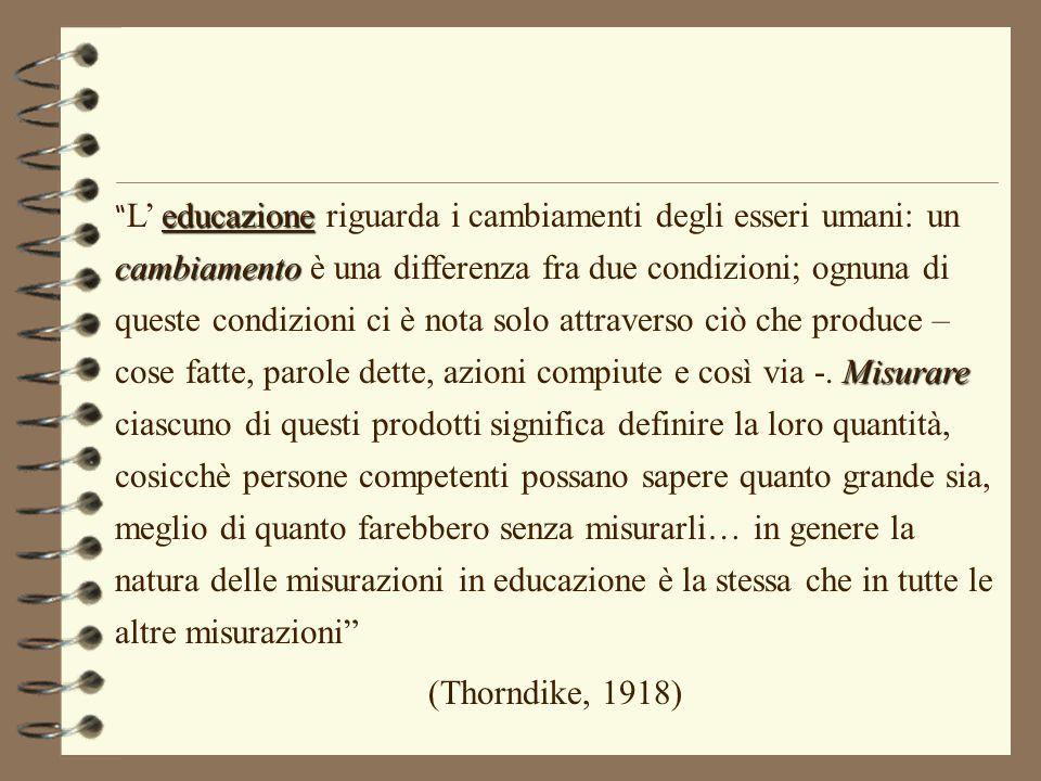 """educazione cambiamento Misurare """" L' educazione riguarda i cambiamenti degli esseri umani: un cambiamento è una differenza fra due condizioni; ognuna"""