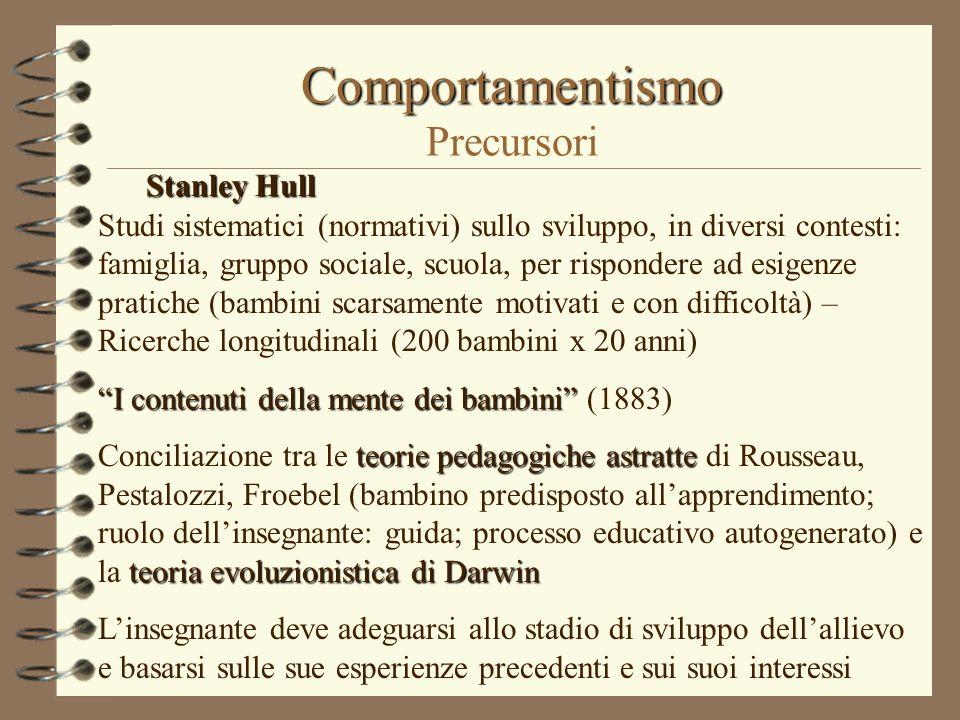 Comportamentismo Comportamentismo Precursori Stanley Hull Studi sistematici (normativi) sullo sviluppo, in diversi contesti: famiglia, gruppo sociale,
