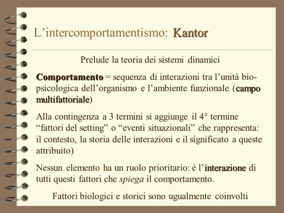 Kantor L'intercomportamentismo: Kantor Prelude la teoria dei sistemi dinamici Comportamento campo multifattoriale Comportamento = sequenza di interazi