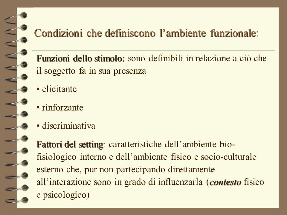 Condizioni che definiscono l'ambiente funzionale Condizioni che definiscono l'ambiente funzionale: Funzioni dello stimolo: Funzioni dello stimolo: son