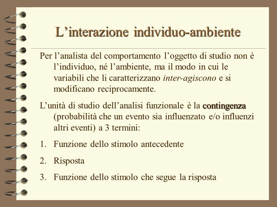 L'interazione individuo-ambiente Per l'analista del comportamento l'oggetto di studio non è l'individuo, né l'ambiente, ma il modo in cui le variabili