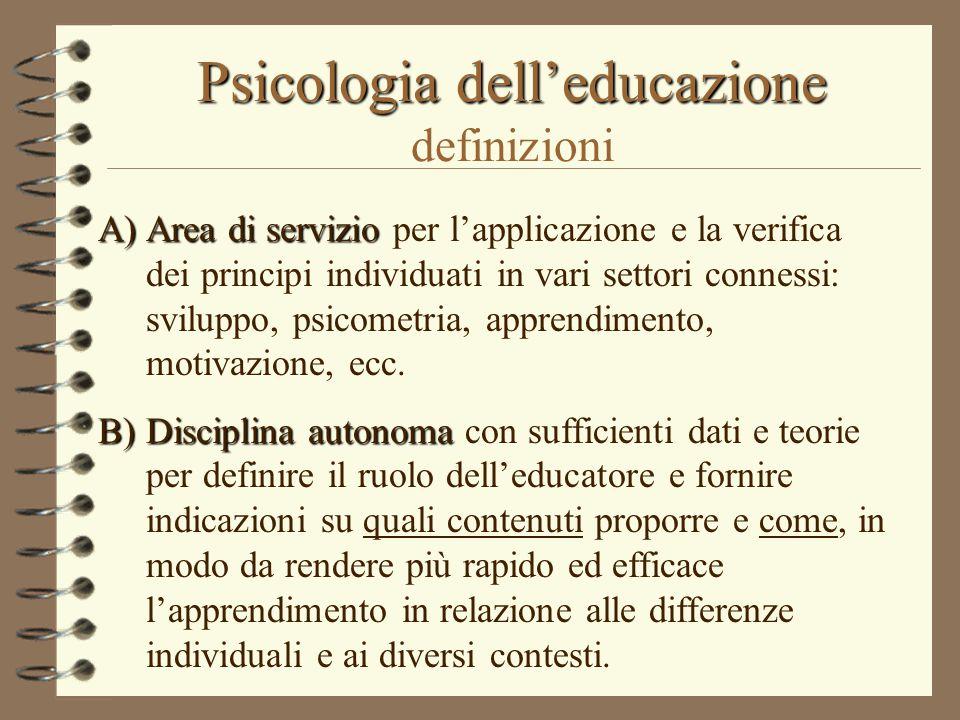 Psicologia dell'educazione Psicologia dell'educazione definizioni A)Area di servizio A)Area di servizio per l'applicazione e la verifica dei principi