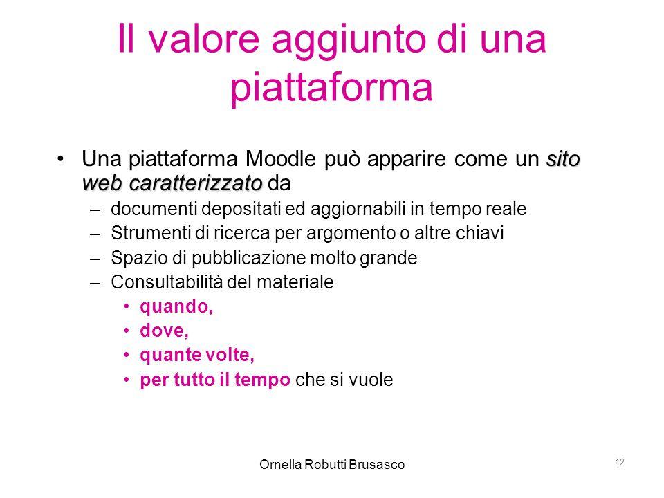 Ornella Robutti Brusasco 12 Il valore aggiunto di una piattaforma sito web caratterizzatoUna piattaforma Moodle può apparire come un sito web caratter