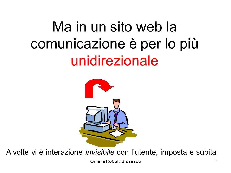 Ornella Robutti Brusasco 14 Ma in un sito web la comunicazione è per lo più unidirezionale A volte vi è interazione invisibile con l'utente, imposta e