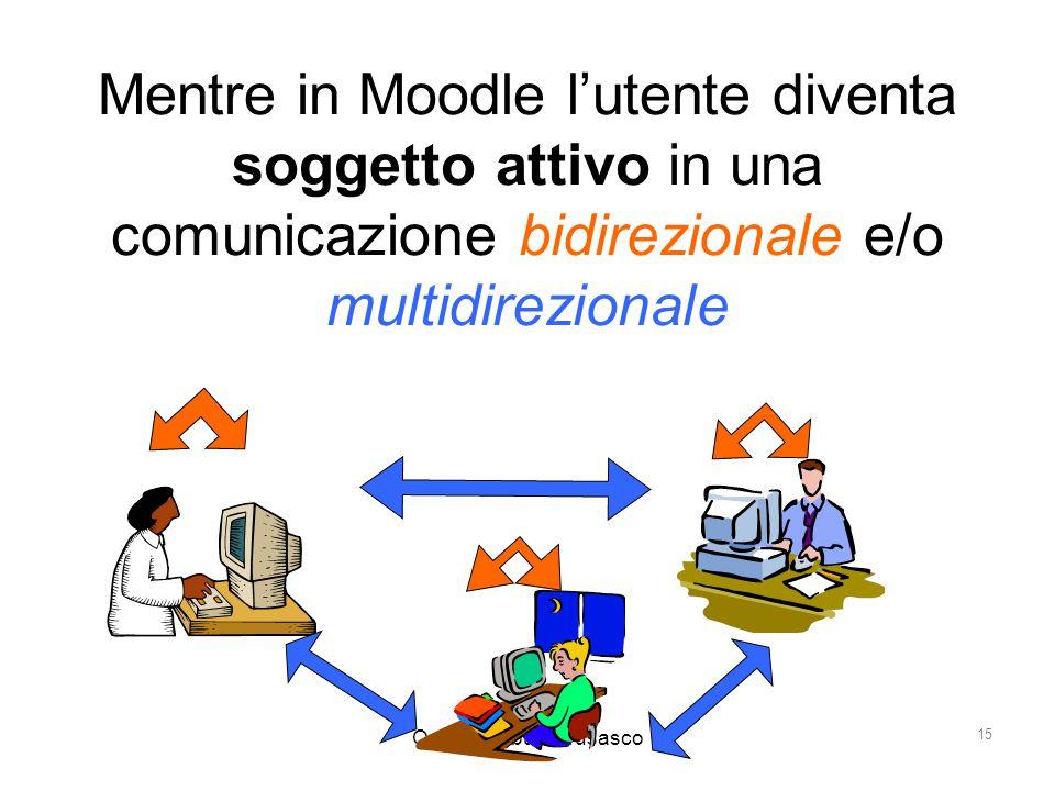 Ornella Robutti Brusasco 15 Mentre in Moodle l'utente diventa soggetto attivo in una comunicazione bidirezionale e/o multidirezionale