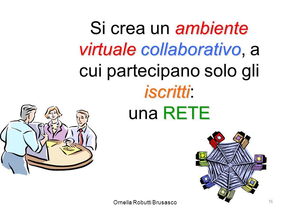 Ornella Robutti Brusasco 16 ambiente virtualecollaborativo iscritti RETE Si crea un ambiente virtuale collaborativo, a cui partecipano solo gli iscrit
