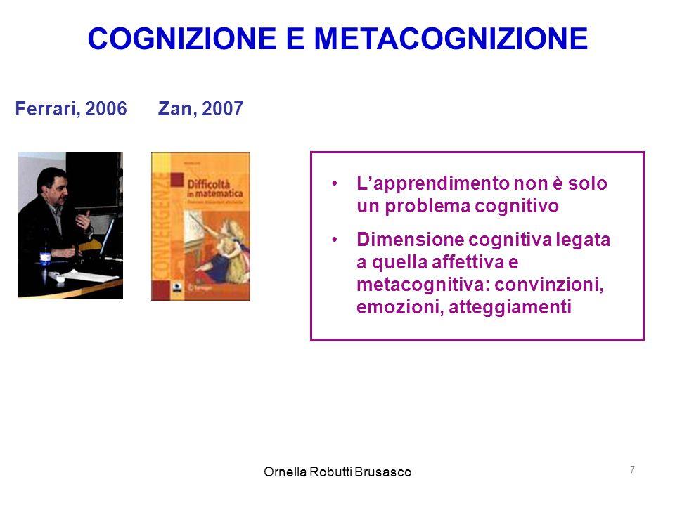 Ornella Robutti Brusasco 7 COGNIZIONE E METACOGNIZIONE L'apprendimento non è solo un problema cognitivo Dimensione cognitiva legata a quella affettiva