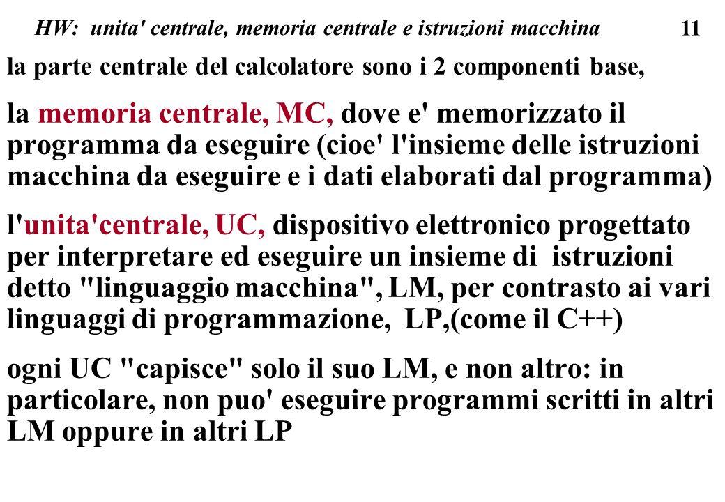 11 HW: unita centrale, memoria centrale e istruzioni macchina la parte centrale del calcolatore sono i 2 componenti base, la memoria centrale, MC, dove e memorizzato il programma da eseguire (cioe l insieme delle istruzioni macchina da eseguire e i dati elaborati dal programma) l unita centrale, UC, dispositivo elettronico progettato per interpretare ed eseguire un insieme di istruzioni detto linguaggio macchina , LM, per contrasto ai vari linguaggi di programmazione, LP,(come il C++) ogni UC capisce solo il suo LM, e non altro: in particolare, non puo eseguire programmi scritti in altri LM oppure in altri LP