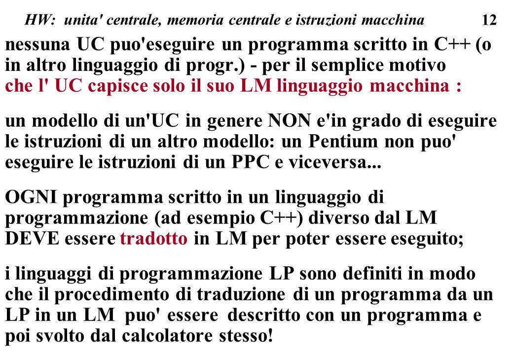 12 HW: unita centrale, memoria centrale e istruzioni macchina nessuna UC puo eseguire un programma scritto in C++ (o in altro linguaggio di progr.) - per il semplice motivo che l UC capisce solo il suo LM linguaggio macchina : un modello di un UC in genere NON e in grado di eseguire le istruzioni di un altro modello: un Pentium non puo eseguire le istruzioni di un PPC e viceversa...