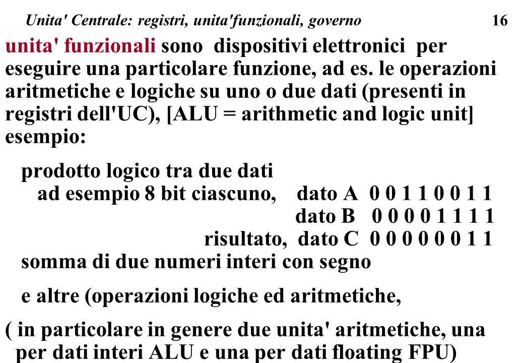 16 Unita Centrale: registri, unita funzionali, governo unita funzionali sono dispositivi elettronici per eseguire una particolare funzione, ad es.