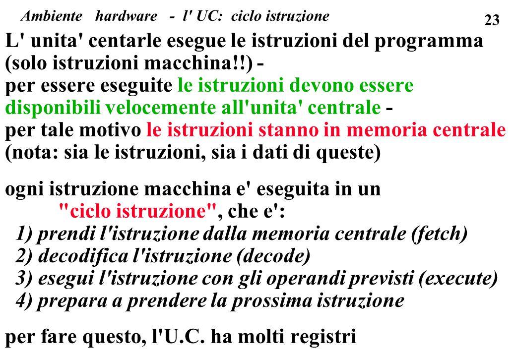 23 L' unita' centarle esegue le istruzioni del programma (solo istruzioni macchina!!) - per essere eseguite le istruzioni devono essere disponibili ve
