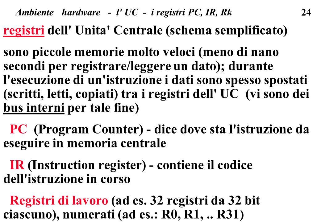 24 registri dell Unita Centrale (schema semplificato) sono piccole memorie molto veloci (meno di nano secondi per registrare/leggere un dato); durante l esecuzione di un istruzione i dati sono spesso spostati (scritti, letti, copiati) tra i registri dell UC (vi sono dei bus interni per tale fine) PC (Program Counter) - dice dove sta l istruzione da eseguire in memoria centrale IR (Instruction register) - contiene il codice dell istruzione in corso Registri di lavoro (ad es.