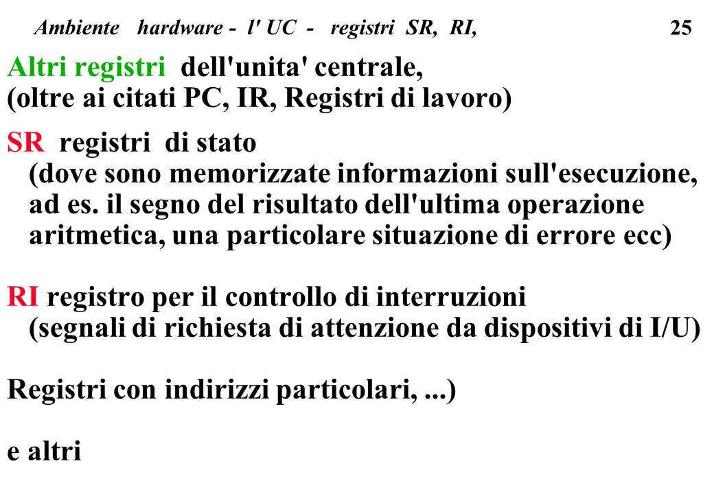 25 Ambiente hardware - l' UC - registri SR, RI, Altri registri dell'unita' centrale, (oltre ai citati PC, IR, Registri di lavoro) SR registri di stato