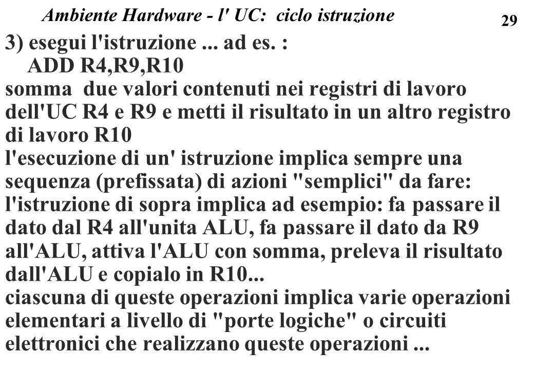 29 3) esegui l'istruzione... ad es. : ADD R4,R9,R10 somma due valori contenuti nei registri di lavoro dell'UC R4 e R9 e metti il risultato in un altro