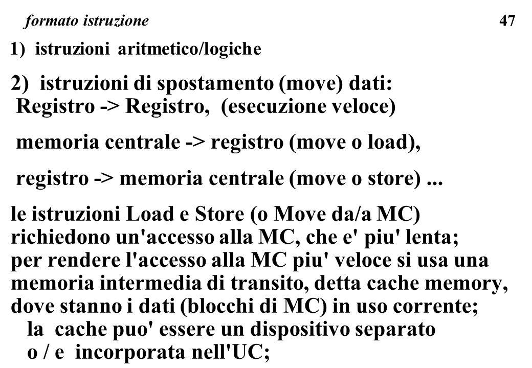 47 formato istruzione 1) istruzioni aritmetico/logiche 2) istruzioni di spostamento (move) dati: Registro -> Registro, (esecuzione veloce) memoria centrale -> registro (move o load), registro -> memoria centrale (move o store)...