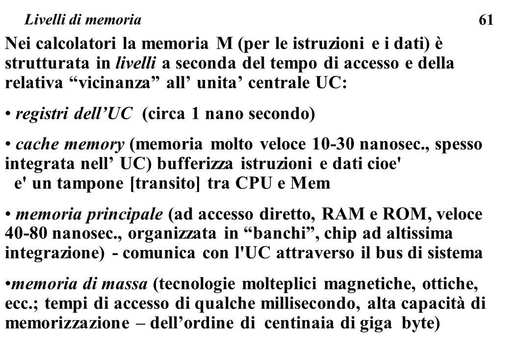 61 Livelli di memoria Nei calcolatori la memoria M (per le istruzioni e i dati) è strutturata in livelli a seconda del tempo di accesso e della relativa vicinanza all' unita' centrale UC: registri dell'UC (circa 1 nano secondo) cache memory (memoria molto veloce 10-30 nanosec., spesso integrata nell' UC) bufferizza istruzioni e dati cioe e un tampone [transito] tra CPU e Mem memoria principale (ad accesso diretto, RAM e ROM, veloce 40-80 nanosec., organizzata in banchi , chip ad altissima integrazione) - comunica con l UC attraverso il bus di sistema memoria di massa (tecnologie molteplici magnetiche, ottiche, ecc.; tempi di accesso di qualche millisecondo, alta capacità di memorizzazione – dell'ordine di centinaia di giga byte)