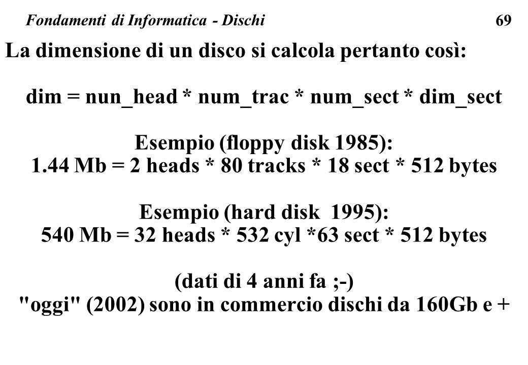 69 Fondamenti di Informatica - Dischi La dimensione di un disco si calcola pertanto così: dim = nun_head * num_trac * num_sect * dim_sect Esempio (flo