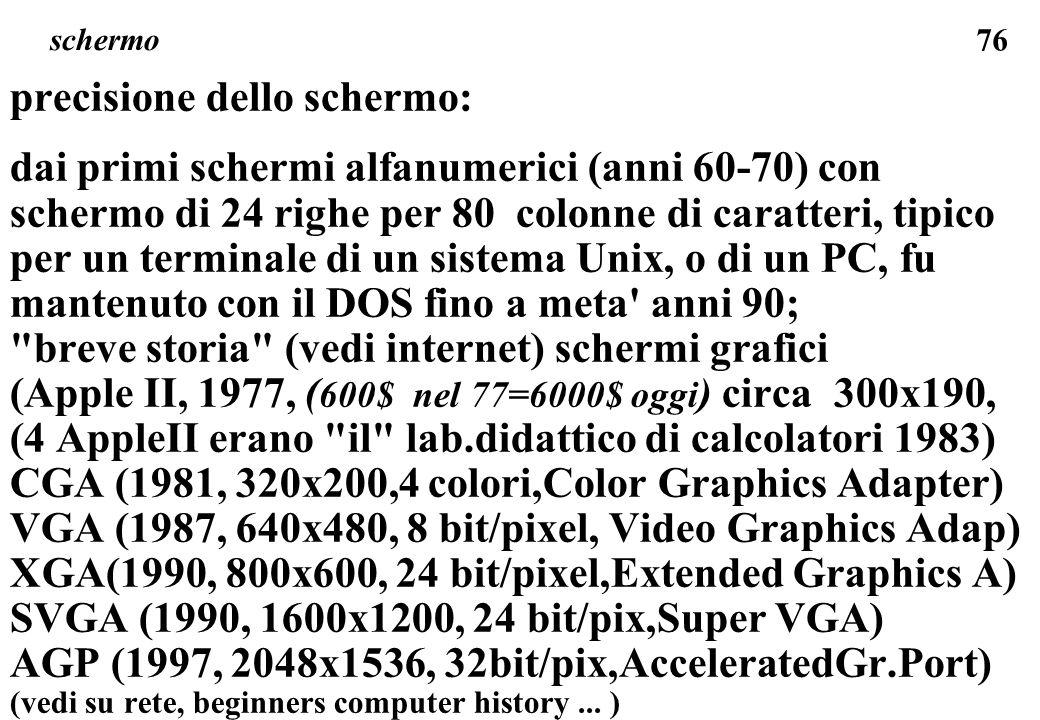 76 schermo precisione dello schermo: dai primi schermi alfanumerici (anni 60-70) con schermo di 24 righe per 80 colonne di caratteri, tipico per un terminale di un sistema Unix, o di un PC, fu mantenuto con il DOS fino a meta anni 90; breve storia (vedi internet) schermi grafici (Apple II, 1977, ( 600$ nel 77=6000$ oggi ) circa 300x190, (4 AppleII erano il lab.didattico di calcolatori 1983) CGA (1981, 320x200,4 colori,Color Graphics Adapter) VGA (1987, 640x480, 8 bit/pixel, Video Graphics Adap) XGA(1990, 800x600, 24 bit/pixel,Extended Graphics A) SVGA (1990, 1600x1200, 24 bit/pix,Super VGA) AGP (1997, 2048x1536, 32bit/pix,AcceleratedGr.Port) (vedi su rete, beginners computer history...