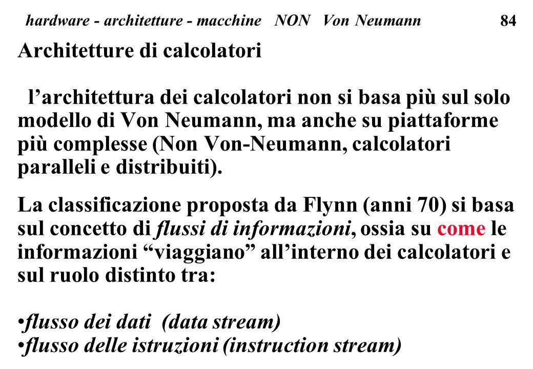 84 Architetture di calcolatori l'architettura dei calcolatori non si basa più sul solo modello di Von Neumann, ma anche su piattaforme più complesse (Non Von-Neumann, calcolatori paralleli e distribuiti).