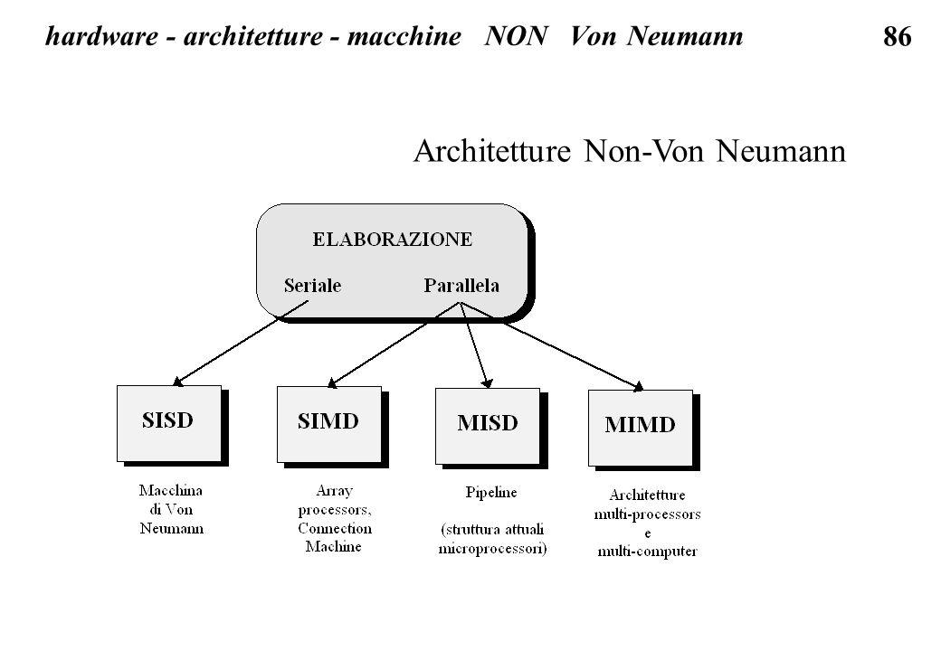 86 Architetture Non-Von Neumann hardware - architetture - macchine NON Von Neumann