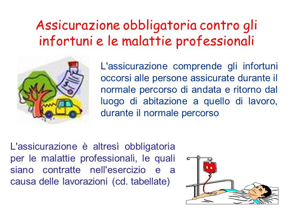 Assicurazione obbligatoria contro gli infortuni e le malattie professionali L'assicurazione comprende gli infortuni occorsi alle persone assicurate du