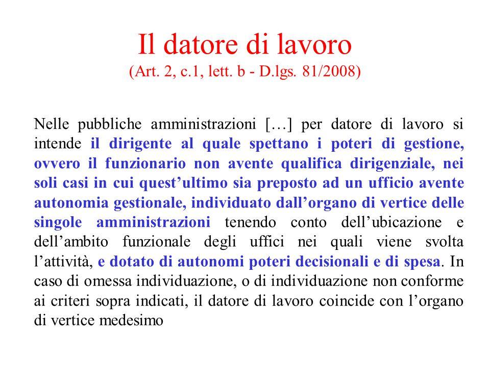 Il datore di lavoro (Art. 2, c.1, lett. b - D.lgs. 81/2008) Nelle pubbliche amministrazioni […] per datore di lavoro si intende il dirigente al quale