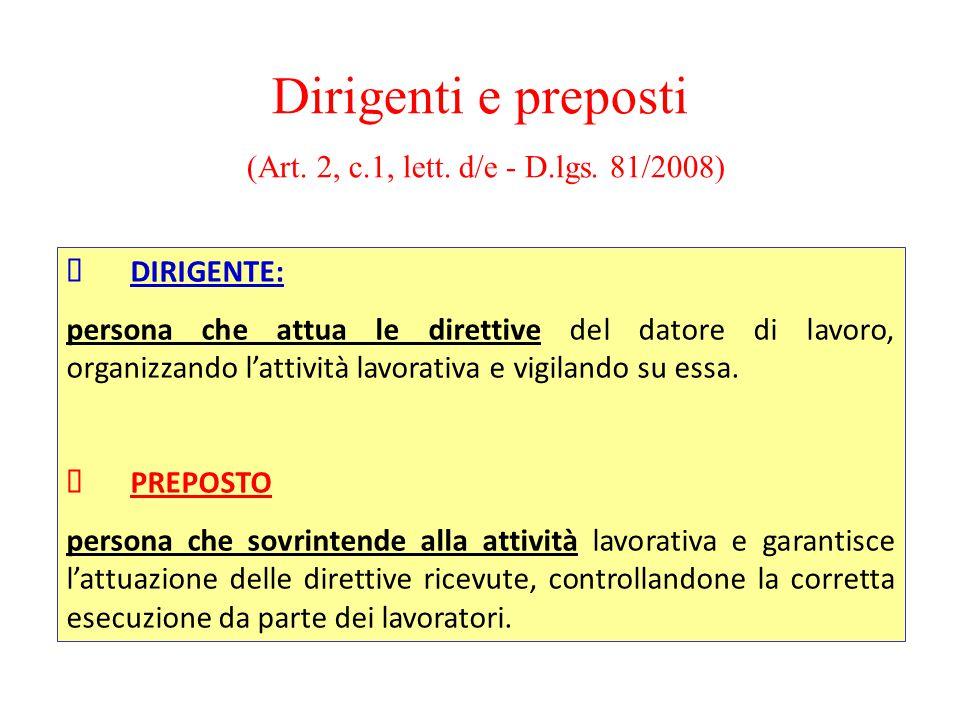 Dirigenti e preposti (Art. 2, c.1, lett. d/e - D.lgs. 81/2008) DIRIGENTE: persona che attua le direttive del datore di lavoro, organizzando l'attività