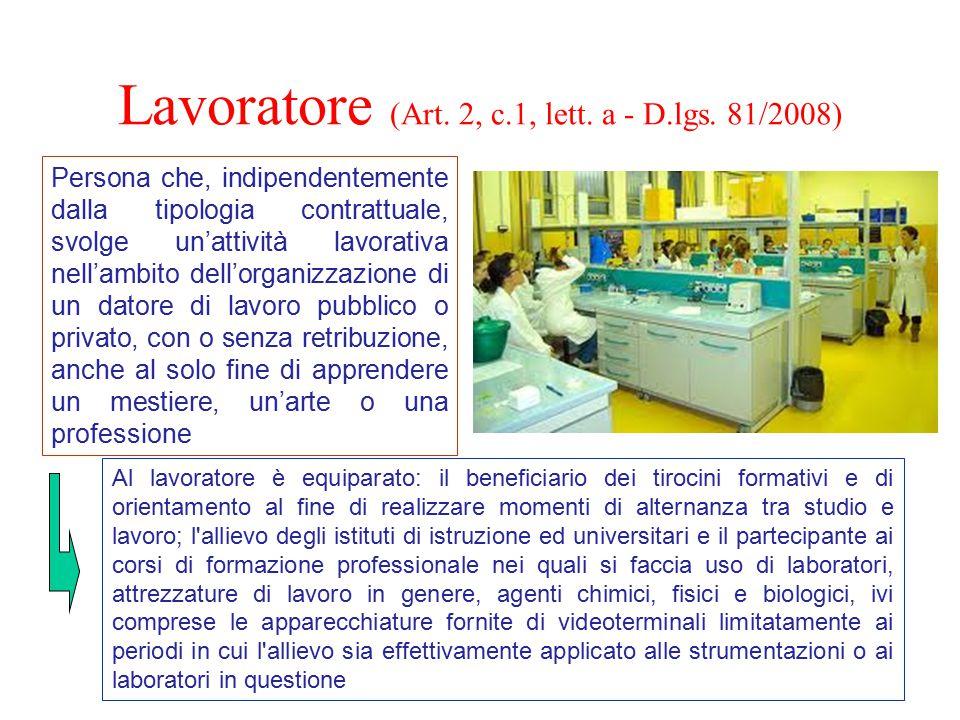 Lavoratore (Art. 2, c.1, lett. a - D.lgs. 81/2008) Persona che, indipendentemente dalla tipologia contrattuale, svolge un'attività lavorativa nell'amb