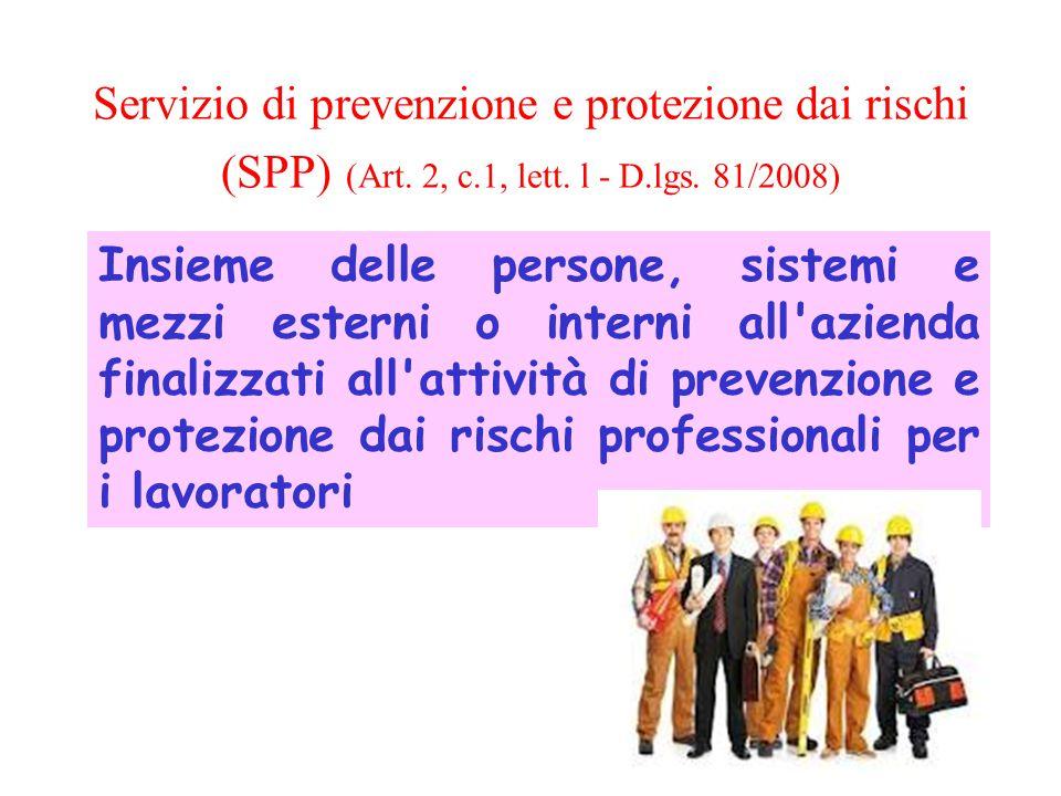 Servizio di prevenzione e protezione dai rischi (SPP) (Art. 2, c.1, lett. l - D.lgs. 81/2008) Insieme delle persone, sistemi e mezzi esterni o interni