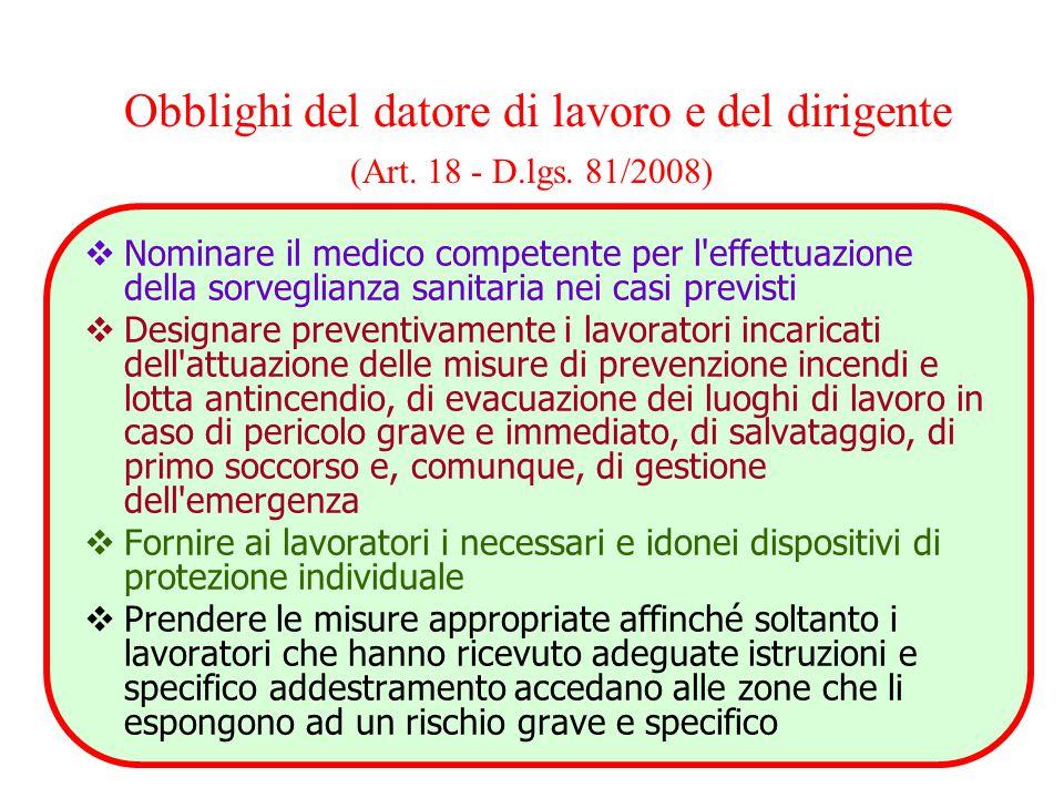 Obblighi del datore di lavoro e del dirigente (Art. 18 - D.lgs. 81/2008)  Nominare il medico competente per l'effettuazione della sorveglianza sanita