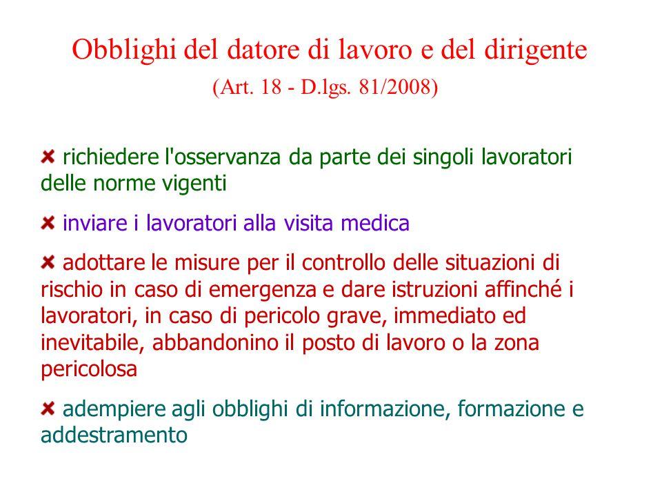 Obblighi del datore di lavoro e del dirigente (Art. 18 - D.lgs. 81/2008) richiedere l'osservanza da parte dei singoli lavoratori delle norme vigenti i