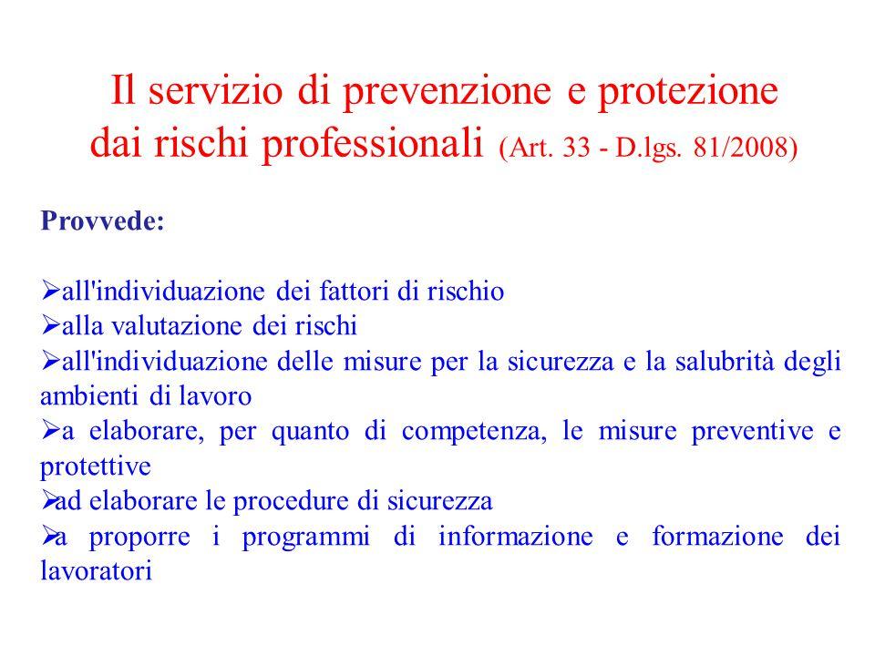 Provvede:  all'individuazione dei fattori di rischio  alla valutazione dei rischi  all'individuazione delle misure per la sicurezza e la salubrità