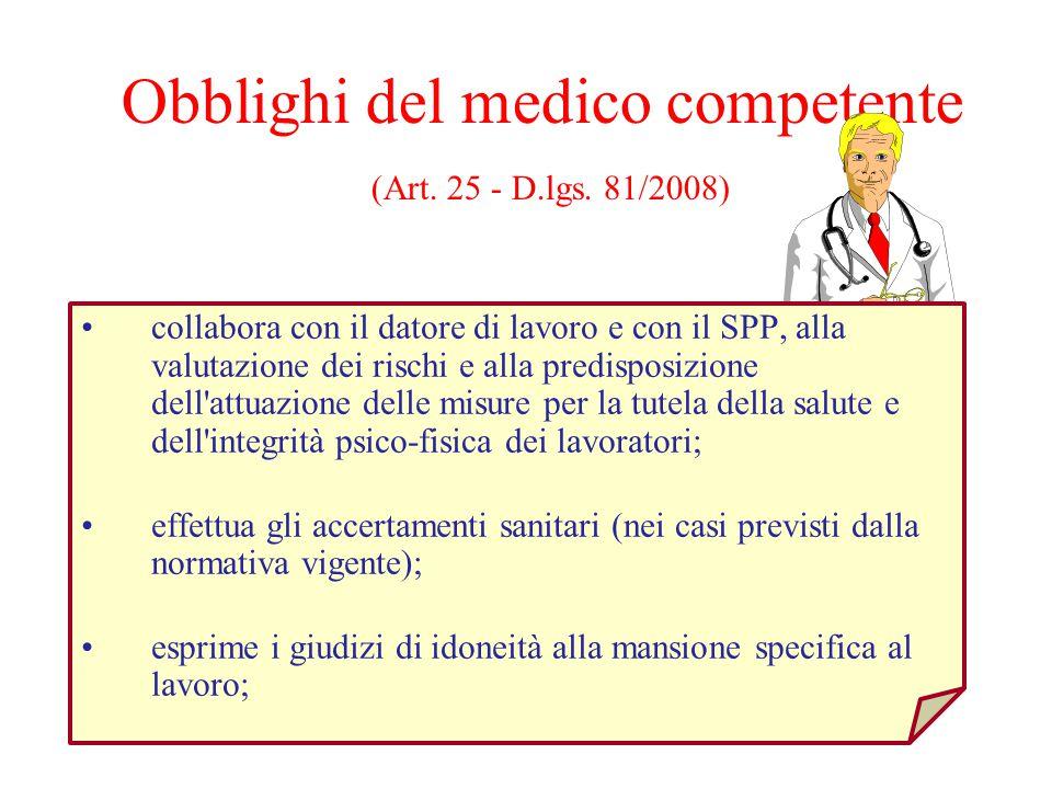 Obblighi del medico competente (Art. 25 - D.lgs. 81/2008) collabora con il datore di lavoro e con il SPP, alla valutazione dei rischi e alla predispos