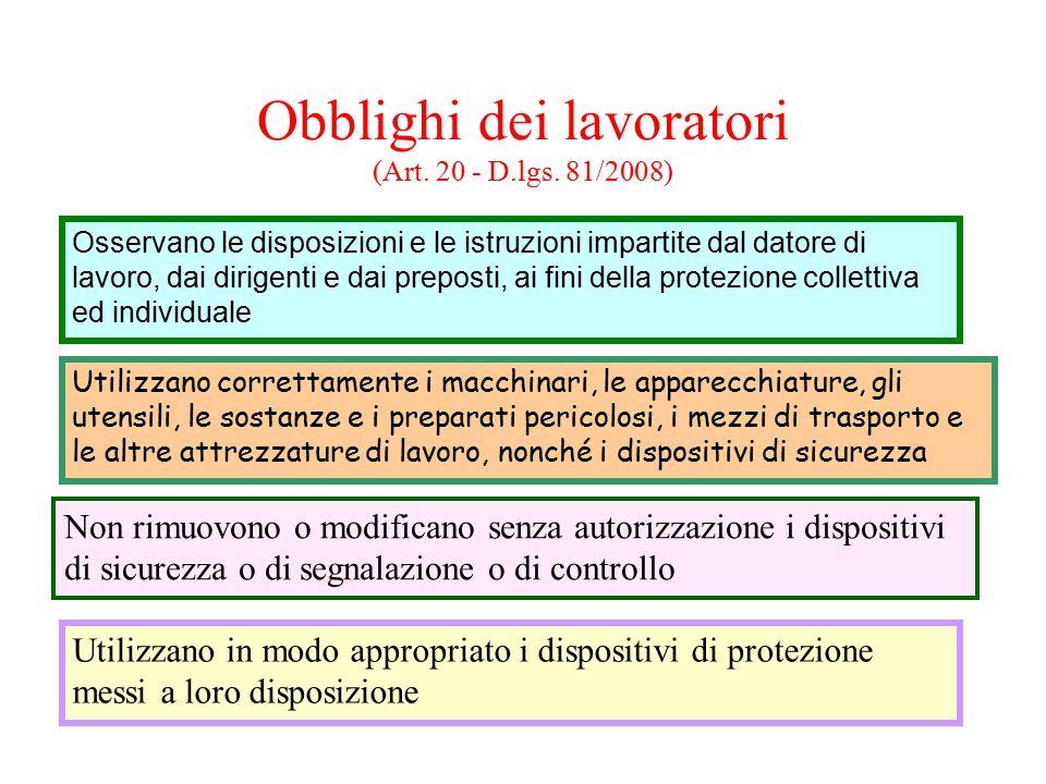 Obblighi dei lavoratori (Art. 20 - D.lgs. 81/2008) Osservano le disposizioni e le istruzioni impartite dal datore di lavoro, dai dirigenti e dai prepo