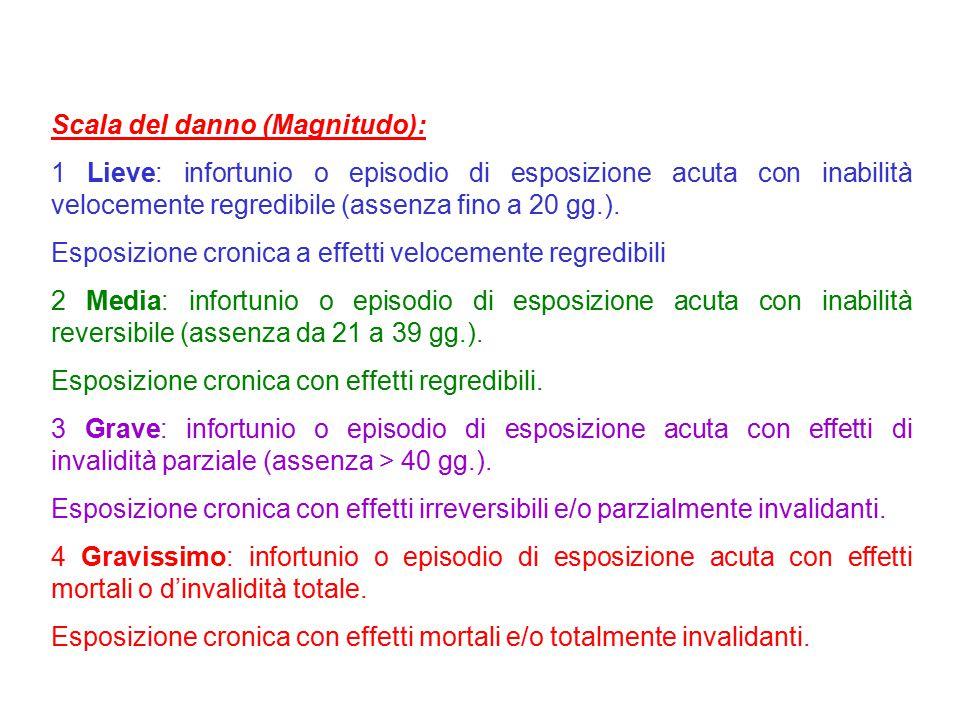 Scala del danno (Magnitudo): 1 Lieve: infortunio o episodio di esposizione acuta con inabilità velocemente regredibile (assenza fino a 20 gg.). Esposi