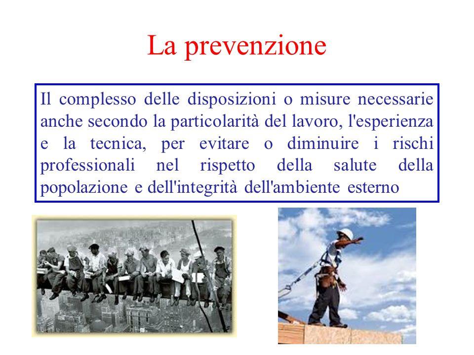 La prevenzione Il complesso delle disposizioni o misure necessarie anche secondo la particolarità del lavoro, l esperienza e la tecnica, per evitare o diminuire i rischi professionali nel rispetto della salute della popolazione e dell integrità dell ambiente esterno